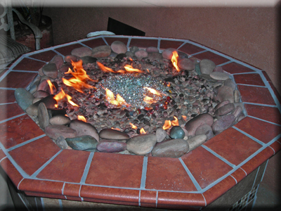 rocks and fire glass outdoor fire pit